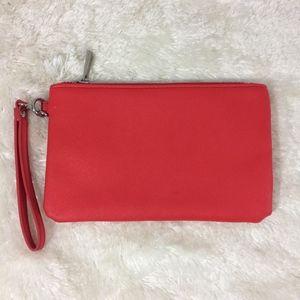 Express Red & Silver 8x5x1 Wristlet Purse Bag